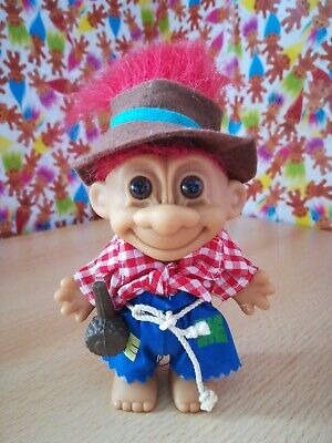 Russ Troll Farmer Hillbilly Hobo pipe Retro Vintage Collectable 90s Toy Red hair