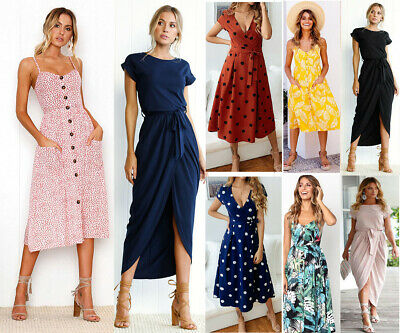 Uk Womens Belted Cut Design Maxi Dress Summer Holiday Casual Long Ladies Dress