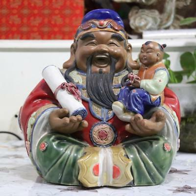 "Chinese Folk Conventional Wu Cai Pottery Porcelain ""FuLuShou"" Statue Immortal"