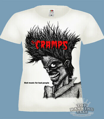 2e99f45fd THE CRAMPS Bad Music For Bad People LADIES T-Shirt PUNK goth PSYCHOBILLY  white
