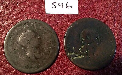 2 Antique George Iii Copper Halfpennies Issue  4 - Job Lot 596