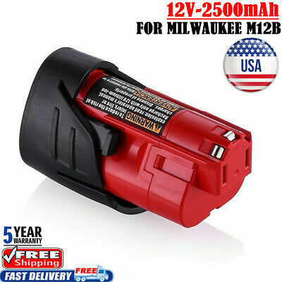 2.5Ah For Milwaukee 48-11-2401 M12B Li-Ion Extended Replace Battery 12V Lithium