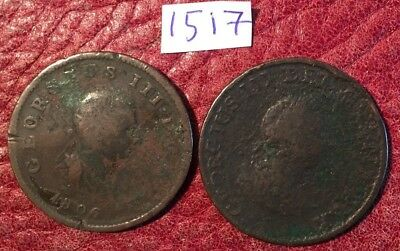 2 Antique George Iii Copper Halfpennies Dated 1799 And 1806 - Job Lot 1517