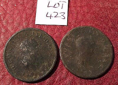 Antique Copper George Iii Halfpennies Dated 1806 And 1807 - Job Lot 423