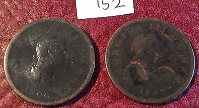 Two Antique Copper George Iii Halfpennies Dated 1806 And 1807 - Job Lot 152