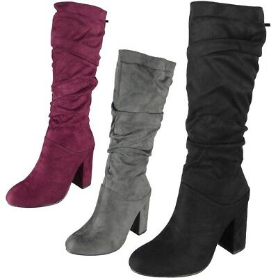 Womens Mid Calf Boots Ladies Faux Suede Winter Zip High Heel Rouched Shoes Size