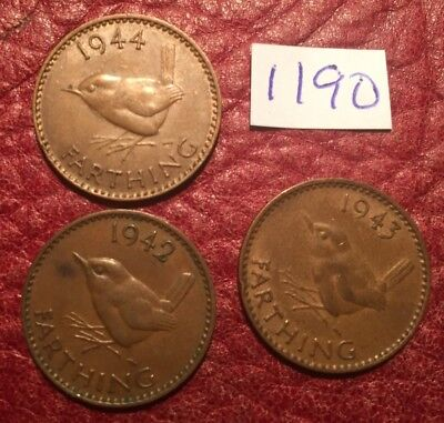3 Different-Dated George Vi Farthings 1942, 1943, 1944 - Job Lot 1190