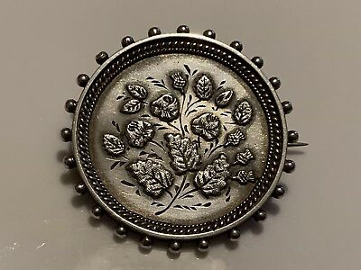 Antique Victorian Aesthetic Movement Floral Solid Silver Brooch