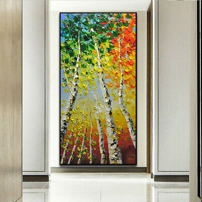 HH203 Large Hand-painted oil painting on canvas Birch forest No Frame 60x120cm