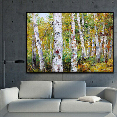 HH205 Hand-painted oil painting on canvas Birch forest No Frame 60x90cm
