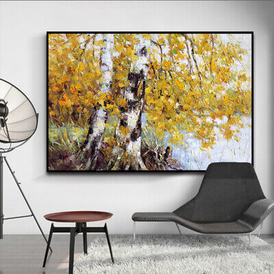 HH207 Hand-painted oil painting on canvas Birch forest No Frame 60x90cm
