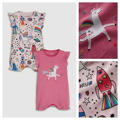 Next Rompers Baby Unicorn Space Girls 6-9 Months Two Pack Pink Print  BNWT