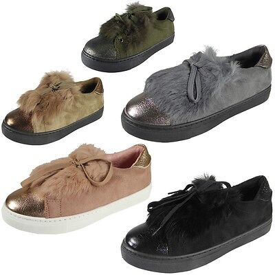 56e70bb5a7d88 New Womens Ladies Trainers Fur Suede Flat Lace Up Pom Pom Sneakers Shoes  Size