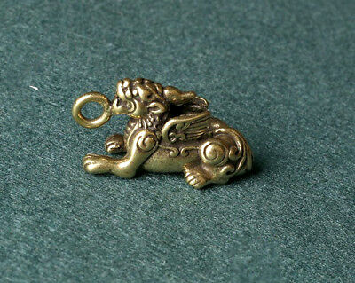 China Old Collectibles Pure brass lucky Unicorn Kylin small pendant