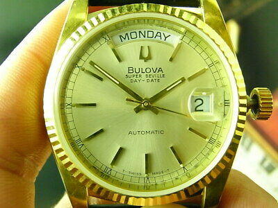 Vintage Bulova Super Seville 2834 Swiss Gold Day Date Auto Mens Watch