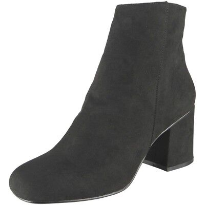 New Womens Ladies Zip High Heel Ankle Casual Work Chelsea Boots Suede Shoes Size