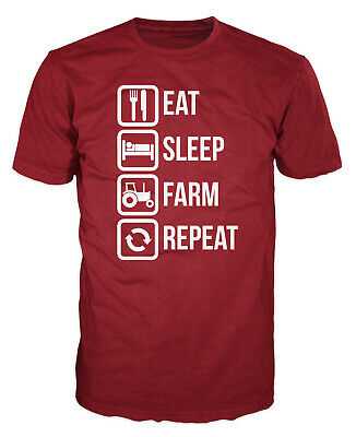 Eat Sleep Farm Repeat Funny Farmer Agriculture Industrial Gift Present T-shirt