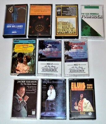 Music Cassette Tape Tapes Lot Of 10 Elvis Hawaii Calls Barbra Don Jackie & Other