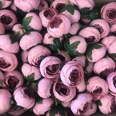 Artificial Silk Flower Heads - Pink Peony Style 30  - 5 Pack
