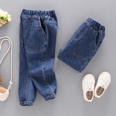 Toddler Kids Boys Jeans Elastic Casual Solid Washed Denim Pants Long Trousers