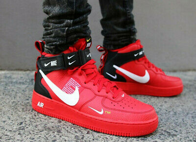 purchase cheap 0449b 7910f Nike Air Force 1 Af1 Mid 07 Lv8 Utility Trainers Uk 14 Eu 49.5 Red 804609605
