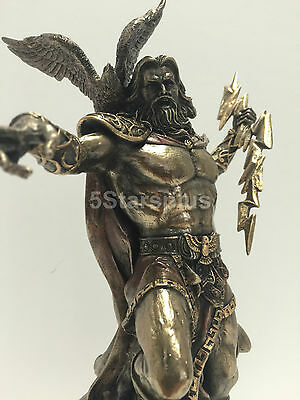 NEW Zeus holding Thunderbolt with Eagle Statue Sculpture figurine Mythology H 11
