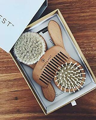 Brand New Natural Wooden Newborn Baby Hair Brush and Comb Set Free Shipping AU