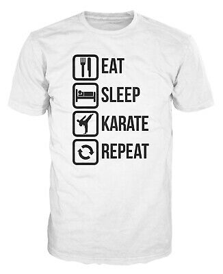 Eat Sleep Karate Repeat Funny Martial Art MMA Kimono Olympics Gift T-shirt