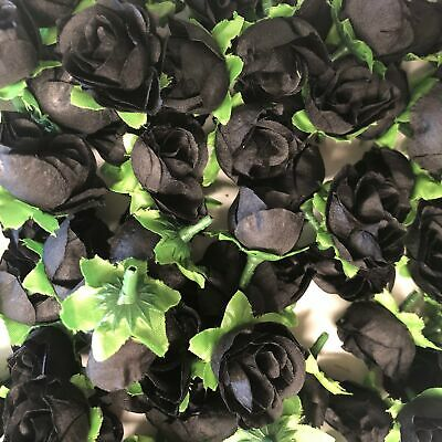 Artificial Silk Flower Heads - Black Rose Style 101 - 5 Pack