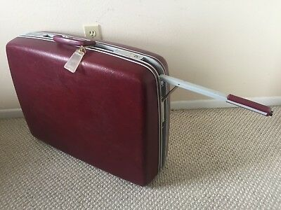 Vintage Samsonite Profile Burgundy Suitcase Luggage Hardcase Wheels  26 x 20 x 7