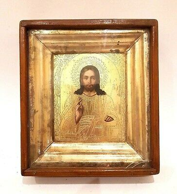 Antique 19c Russian Hand Painted Gold Plated Wood Icon Jesus Christ Pantocrator
