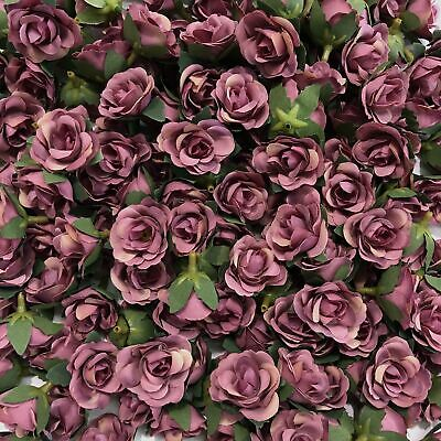 Artificial Silk Flower Heads - Dusty Mauve Rose Style 104 - 5 Pack
