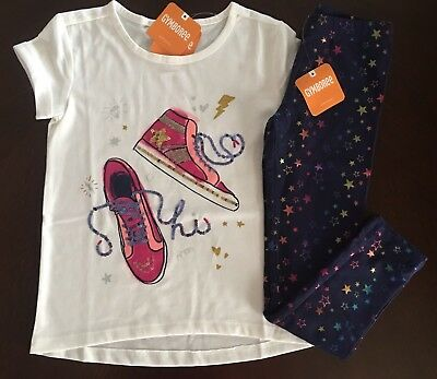 NWT Gymboree Girl Galaxy Club Sneakers Tee /Leggings Outfit 4 5 10 12