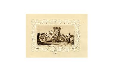 T.V., Chateau Le HavreMiniature on Perforated Paper -1839 watercolour painting