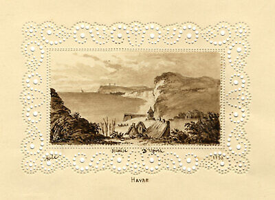 T.V., Le Harve Cliff in Miniature on Perforated Paper -1839 watercolour painting
