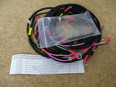 farmall cub 1955-58 tractor wiring harness set w/battery cables