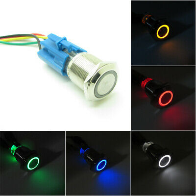 12V 16mm 19mm Push Button Switch Annular LED Momentary Latching Waterproof Car