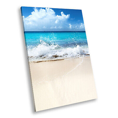 Blue White Beach Waves  Portrait Scenic Canvas Wall Art Large Picture Print