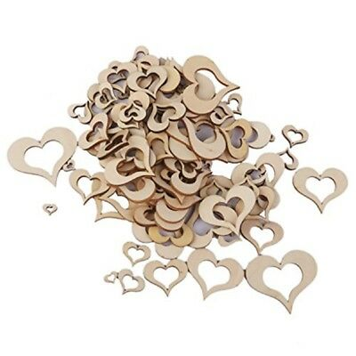 100pcs Blank Wooden Hollow Heart Embellishments for Wedding Party Favors
