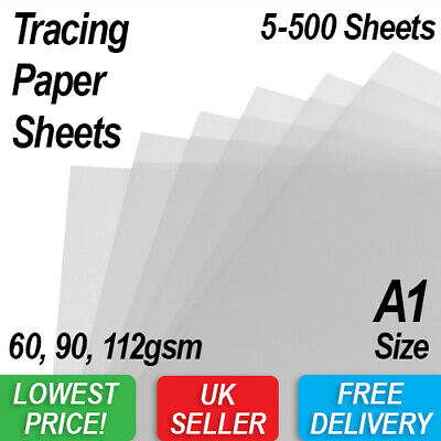 A1 Tracing Paper - 3 Weights - You Pick 5-500 Sheets - High Quality Transparent