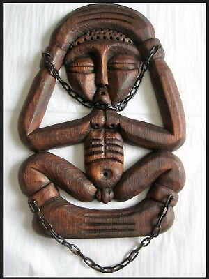 VTG ETHNOGRAPHIC CARVED SCULPTURE-FIGURE ~Fertility/Birthing~WALL HANGING~Signed