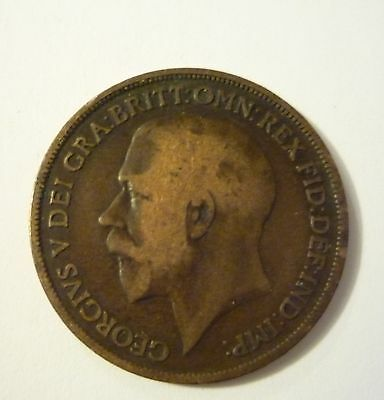 one penny George V copper coin 1911 1916 1920 21 29 35 or 1936 UK