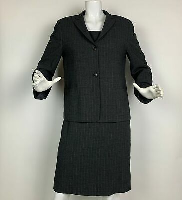 Luciano Barbera Dress Suit Wool Gray White PinStripes Women Career Sz 44 8 Italy