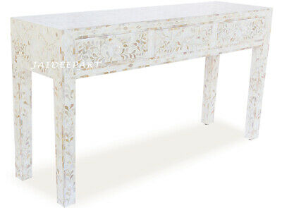 Handmade Mother of Pearl Inlay Inlaid White Flower 3 Drawer Console Table