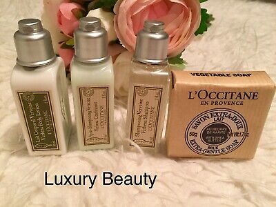 L'occitane Shower Travel Set # Soap, Body Lotion, Shampoo, Conditioner # NEW !