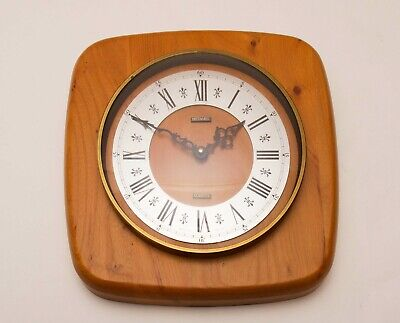 METAMEC Vintage large wood wall clock Quartz battery wooden clock Mid Century