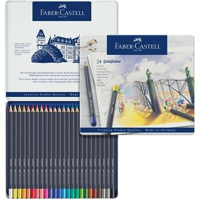Faber Castell 24 Goldfaber Colour Pencil Tin FC114724 Save Over 30% Off RRP