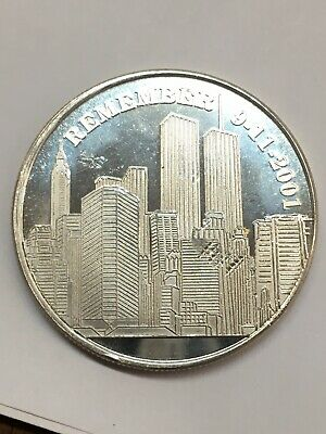 Remember 9-11-2001 Twin Towers God Bless America 1 oz .999 Fine Silver Round