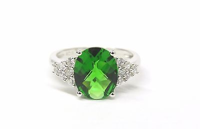 #R6377S 2ct Forest Green Helenite Checkerboard Oval Solid Sterling Silver Ring