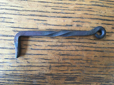 """Antique cast iron twisted hand forged hook 4 1/4"""" long"""